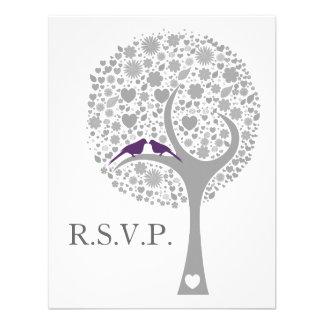 rsvp roxo do casamento da modificação dos lovebird convites personalizados
