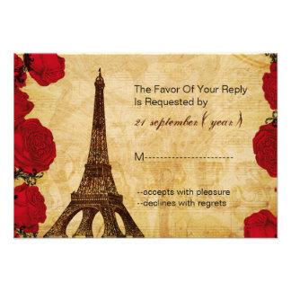 rsvp vermelho 3,5 x 5 do casamento da torre Eiffel Convites Personalizado