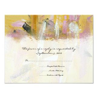 RSVP Wedding artístico amarelo e branco Convite Personalizado