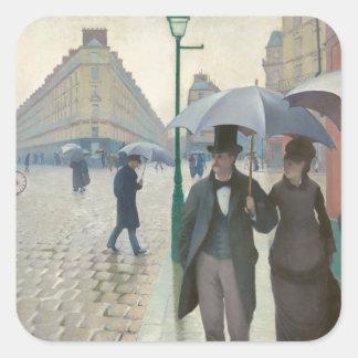 Rua de Paris Temps de Pluie por Gustave Adesivo Quadrado