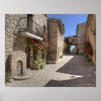 Rua do Cobblestone, construções de pedra, históric Posters
