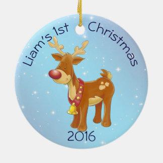 Rudolph bonito para Natal do bebê o ø Ornamento De Cerâmica Redondo