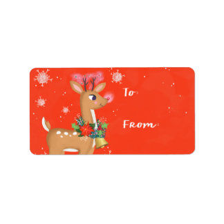 Rudolph o presente da rena etiqueta de endereço