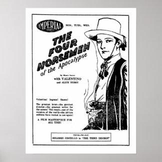 Rudolph Valentino quatro cavaleiro do anúncio do a Poster