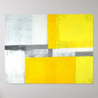 """""""Ruidosamente"""" arte abstracta cinzenta e amarela Poster"""