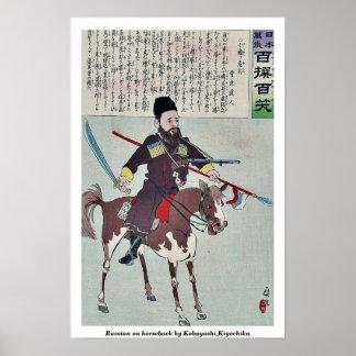 Russo a cavalo por Kobayashi, Kiyochika Poster