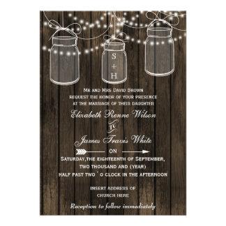 Rustic Barnwood, mason jar wedding invites