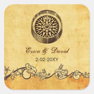 rustic compass nautical wedding  envelopes seals stickers