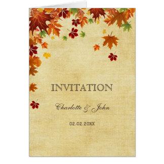 Rústico folhas da queda convites do casamento cartoes