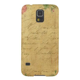 rústico, Parchement, vestido, floral, letras, Capinhas Galaxy S5
