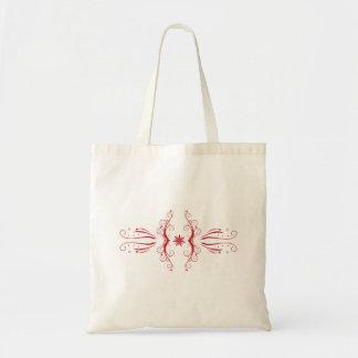 Saco abstrato floral vermelho bolsa para compras