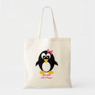 Saco bonito do pinguim bolsa tote