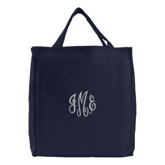 Saco bordado do marinho do roteiro monograma bolsas para compras
