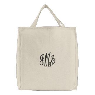 Saco bordado do roteiro monograma preto formal bolsas para compras