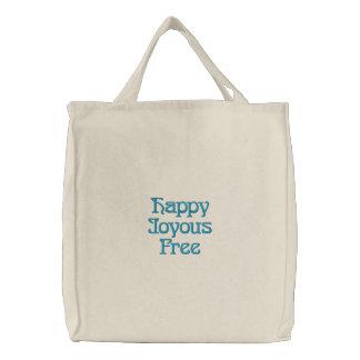 Saco bordado livre feliz feliz bolsa tote bordada