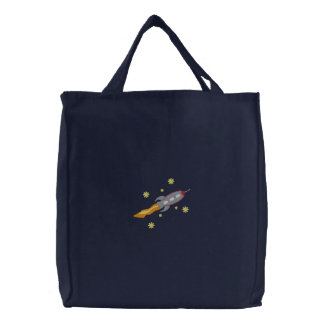 Saco bordado nave espacial bolsas bordadas