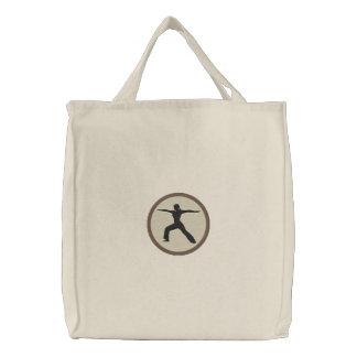 Saco bordado pose do guerreiro da ioga bolsas