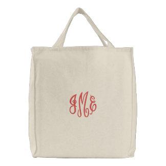 Saco branco bordado do roteiro monograma vermelho bolsa