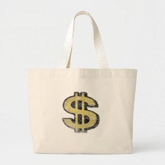 Saco com sinal de dólar amarelo grande bolsa