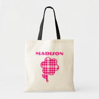 Saco cor-de-rosa bonito da biblioteca da flor da bolsa para compra