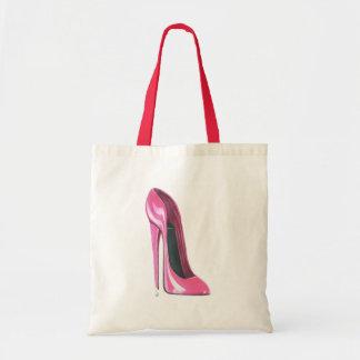 Saco cor-de-rosa da arte dos calçados do salto alt sacola tote budget