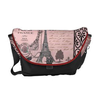 Saco cor-de-rosa da colagem de Paris do vintage Bolsas Mensageiro