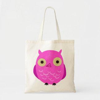 Saco cor-de-rosa da coruja sacola tote budget