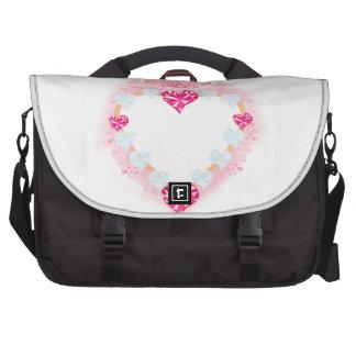 saco cor-de-rosa da viagem ao trabalho do coração bolsas para computadores portáteis