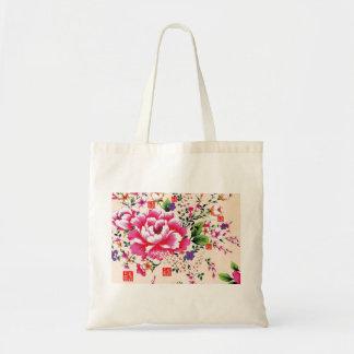 Saco cor-de-rosa do algodão do arranjo de flor da sacola tote budget
