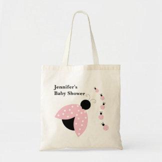 Saco cor-de-rosa do chá de fraldas dos joaninhas sacola tote budget