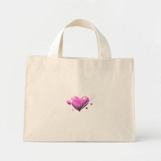 Saco cor-de-rosa do coração bolsa de lona