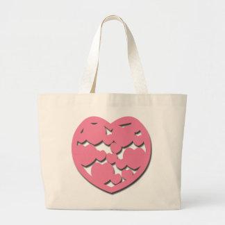 Saco cor-de-rosa do coração bolsas para compras
