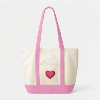 Saco cor-de-rosa do coração sacola tote impulse
