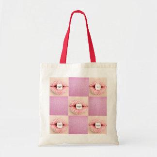 Saco cor-de-rosa do costume dos ganhos sacola tote budget