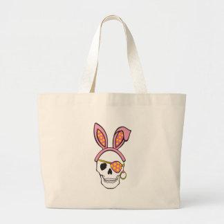 Saco cor-de-rosa do crânio do pirata bolsas para compras