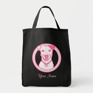Saco cor-de-rosa do filhote de cachorro sacola tote de mercado