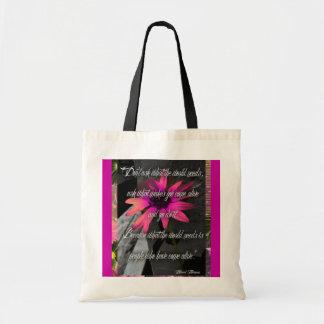 Saco cor-de-rosa do girassol, com citações inspira sacola tote budget