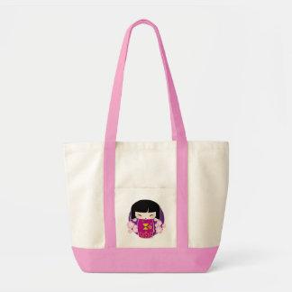 Saco cor-de-rosa do kokeshi sacola tote impulse