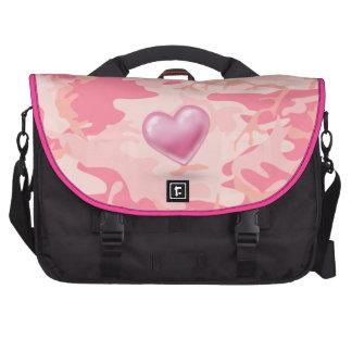 Saco cor-de-rosa do laptop da camuflagem do coraçã bolsas para computadores portáteis