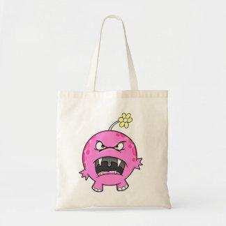 Saco cor-de-rosa do monstro da flor bolsas para compras