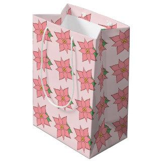 Saco cor-de-rosa do presente da poinsétia sacola para presentes média
