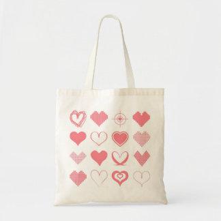 Saco cor-de-rosa dos corações bolsa tote