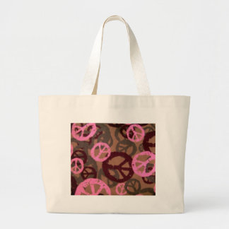 Saco cor-de-rosa dos sinais de paz do camo-Olhar Bolsa Para Compras