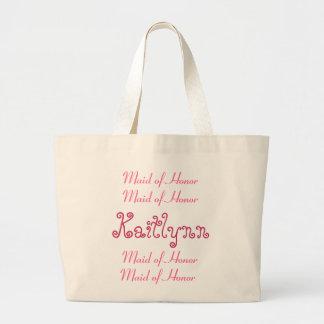 Saco cor-de-rosa e branco do casamento da madrinha sacola tote jumbo