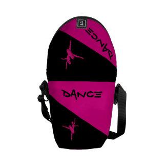 Saco cor-de-rosa e preto da dança das mulheres bolsas mensageiro