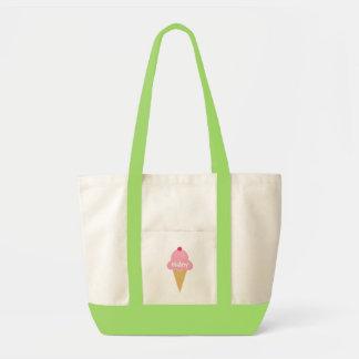 Saco cor-de-rosa personalizado do cone do sorvete sacola tote impulse