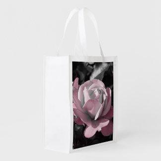 Saco cor-de-rosa reusar do jardim de rosas sacolas reusáveis