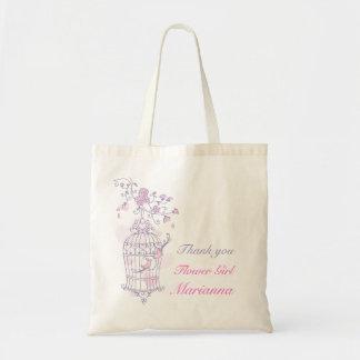 Saco cor-de-rosa roxo do florista do casamento do  sacola tote budget