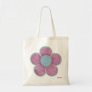 Saco cor-de-rosa Textured da flor Sacola Tote Budget