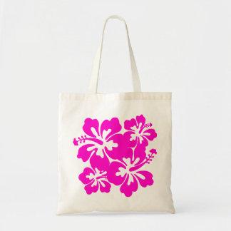 Saco cor-de-rosa tropical do hibiscus sacola tote budget